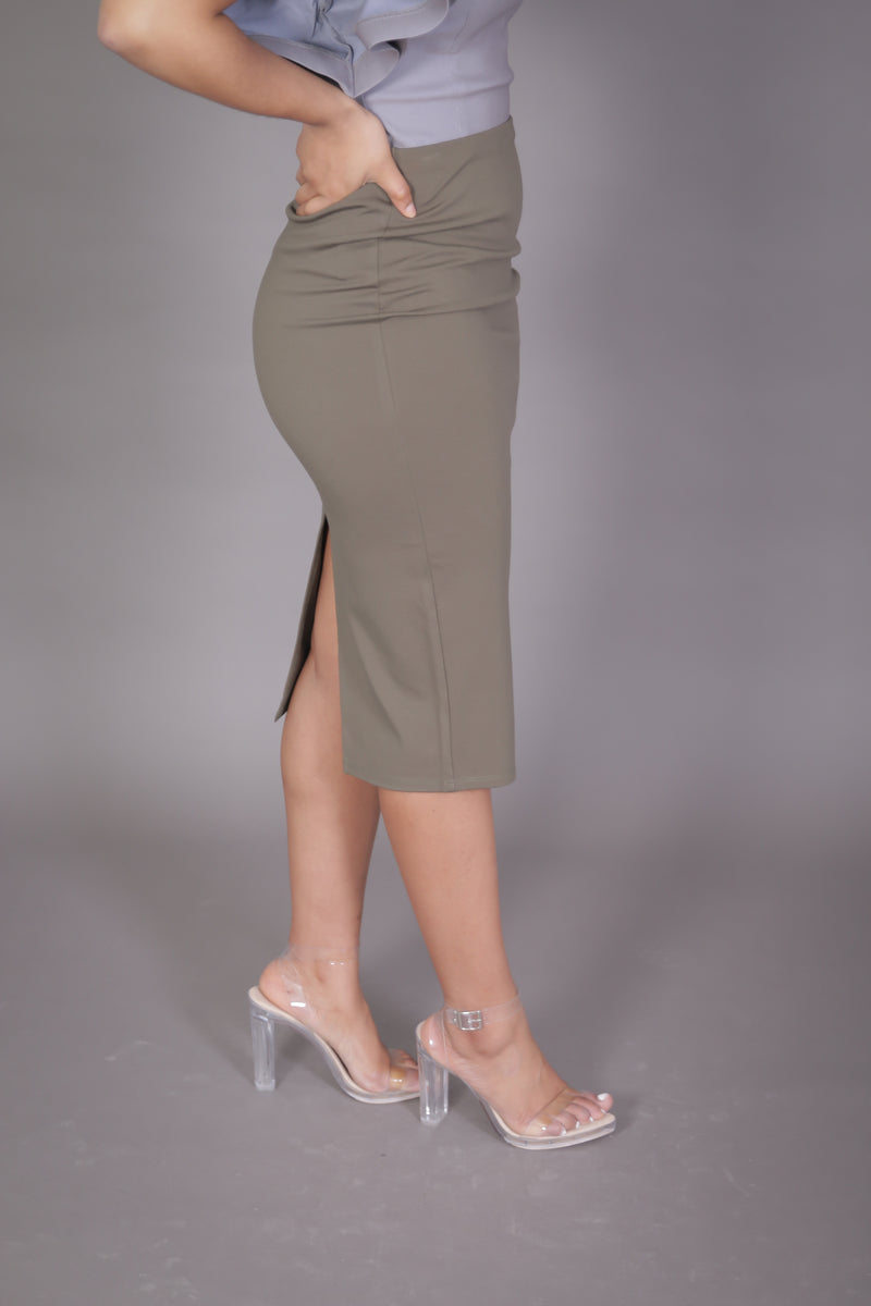 Midi Skirt with High Split (Olive)