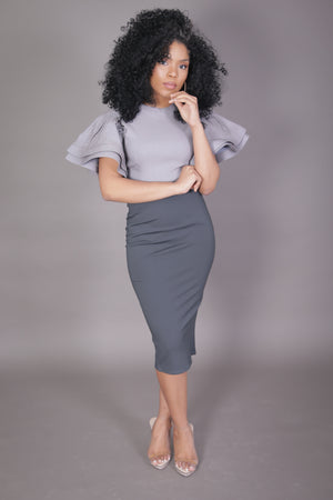 Midi Skirt with High Split (Charcoal)