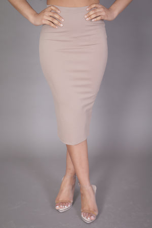 Midi Skirt with High Split (Bone)