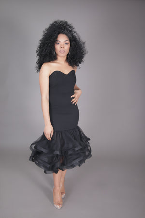 Tulle Fitted Midi Dress (Black)
