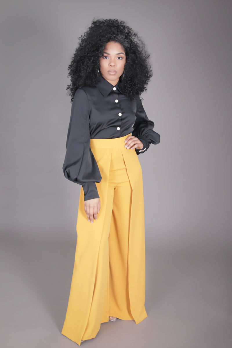 High Waist Wide Leg Pleated Palazzo Pant (Honey Gold)