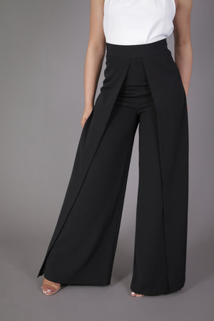 High Waist Wide Leg Pleated Palazzo Pant (Black)