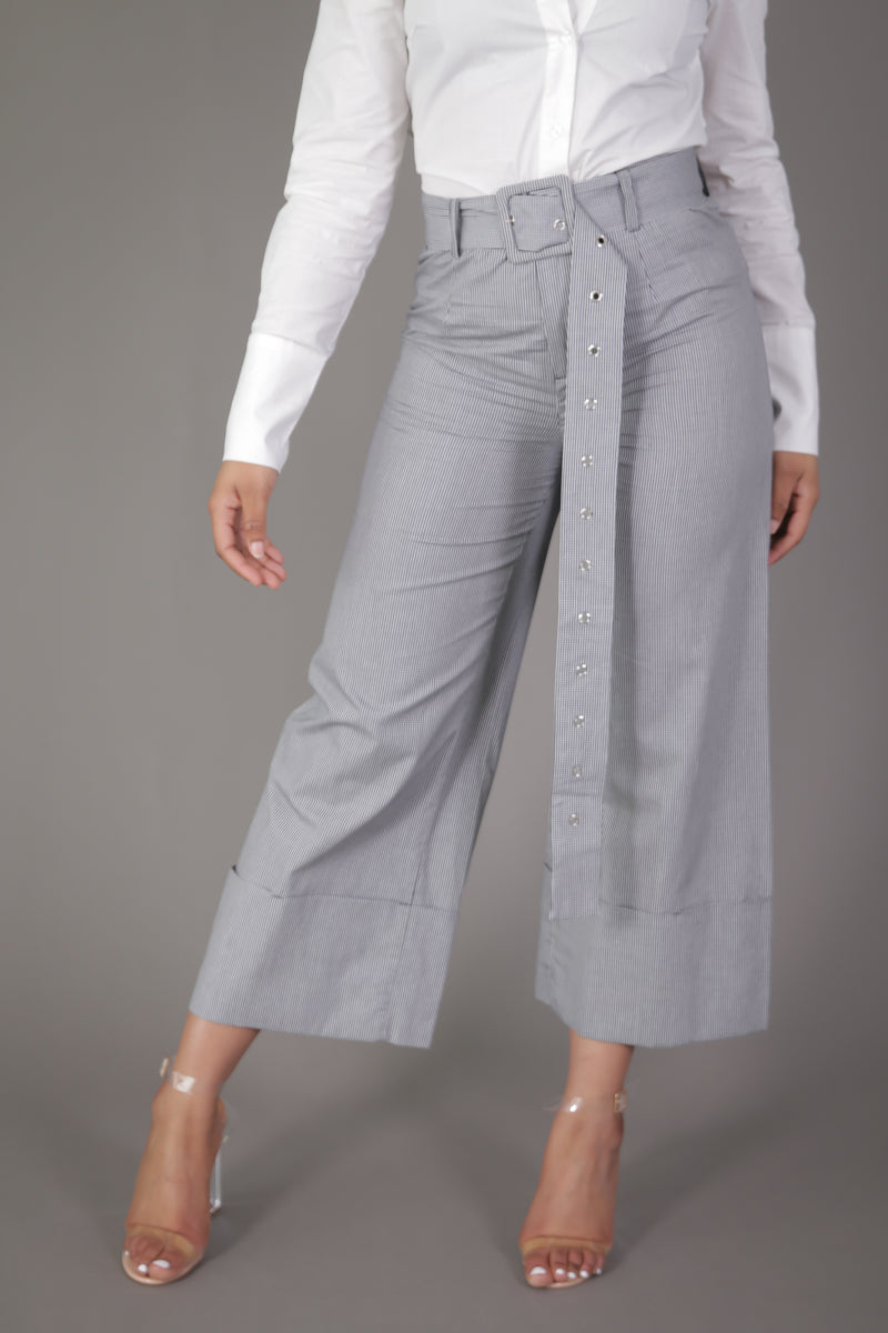 Plaid High Waist Wide Leg Cuffed Culotte with Long Belt