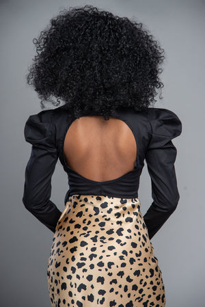 Open Back Statement Sleeve Crop Top w/ Bow (Black)