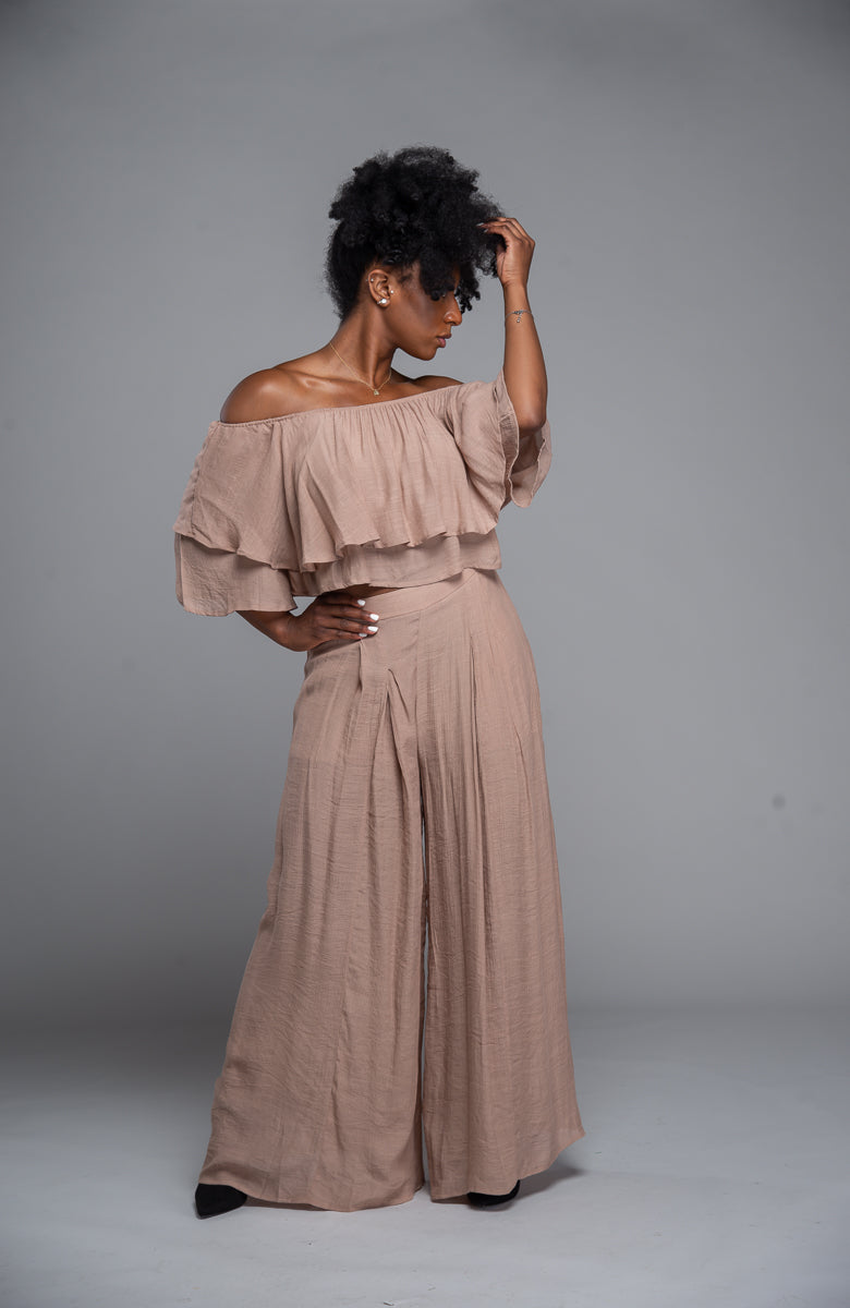 Off The Shoulder Ruffle Set (Taupe)