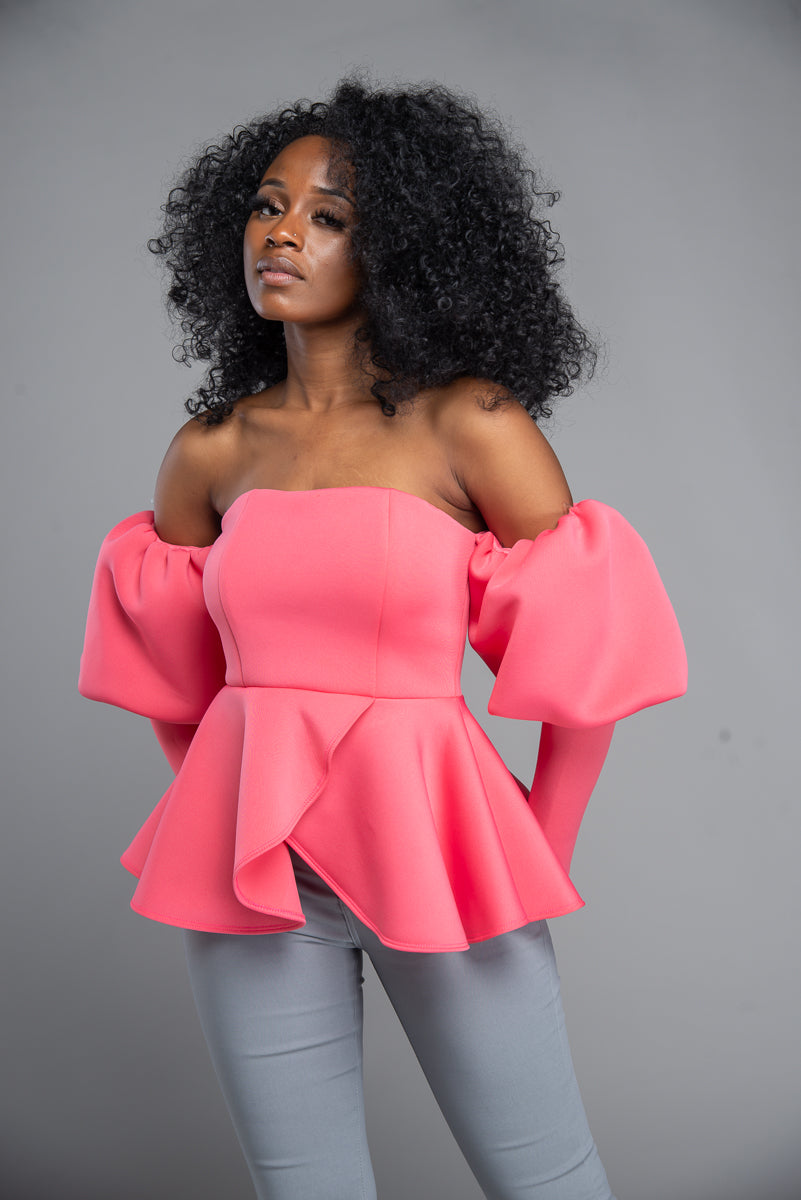 Off The Shoulder Puff Sleeve Scuba Blouse