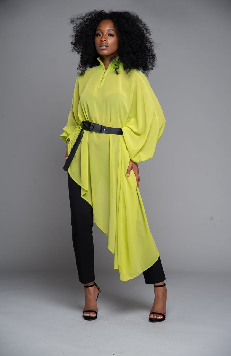 Neon Asymmetrical Blouse w/ Belt