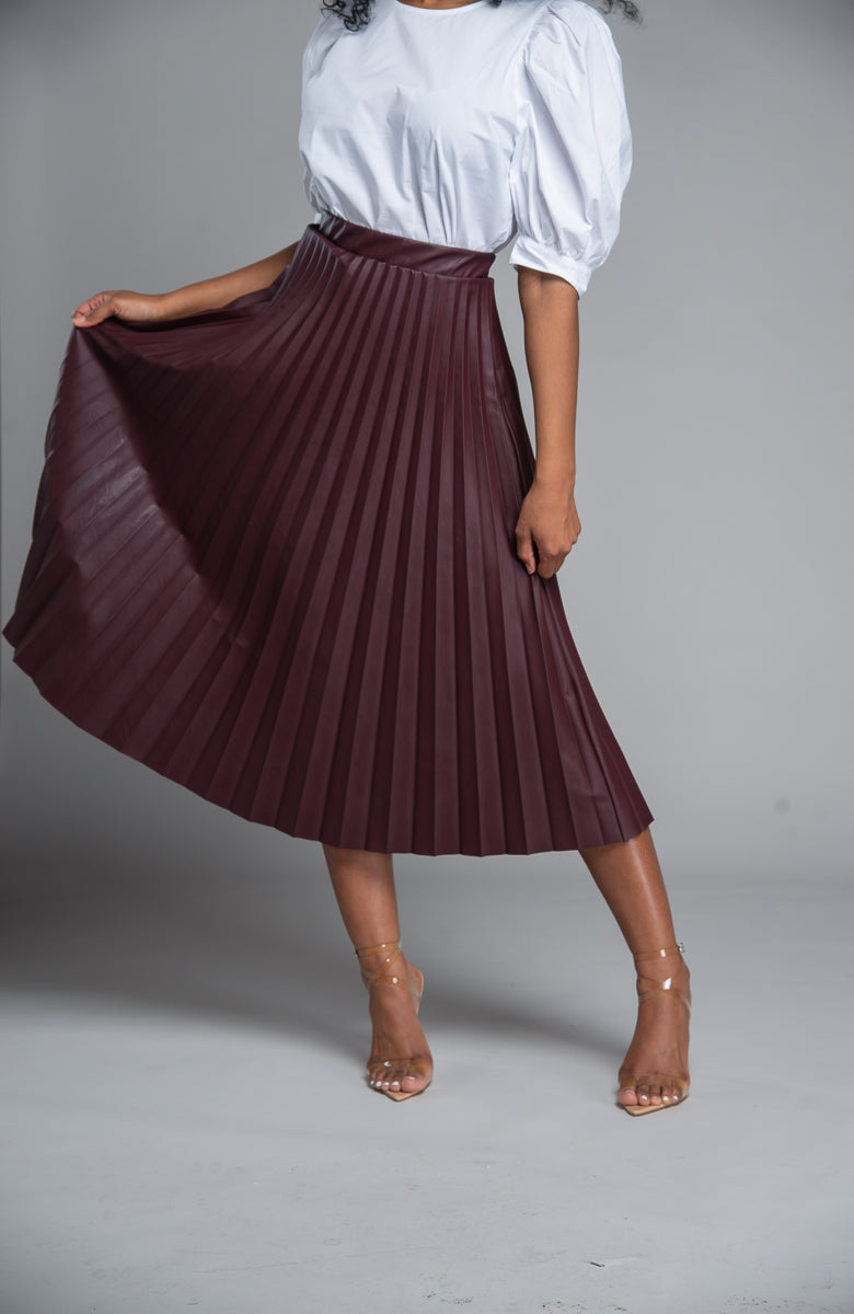 Pleated Faux Leather Skirt (Wine)