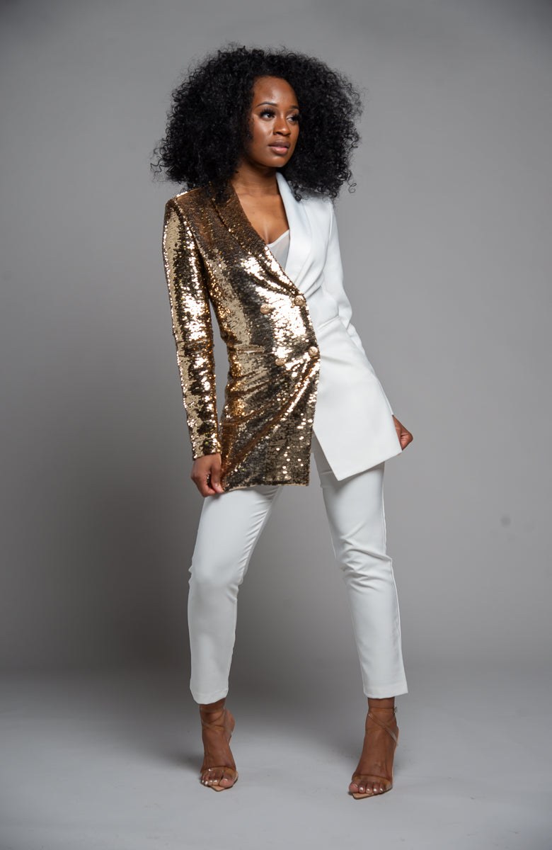 Gold Sequin + Cream Blazer