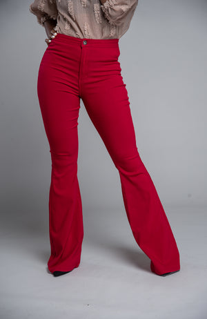 Super Stretch High Waist Wide Leg Denim (Burgundy)