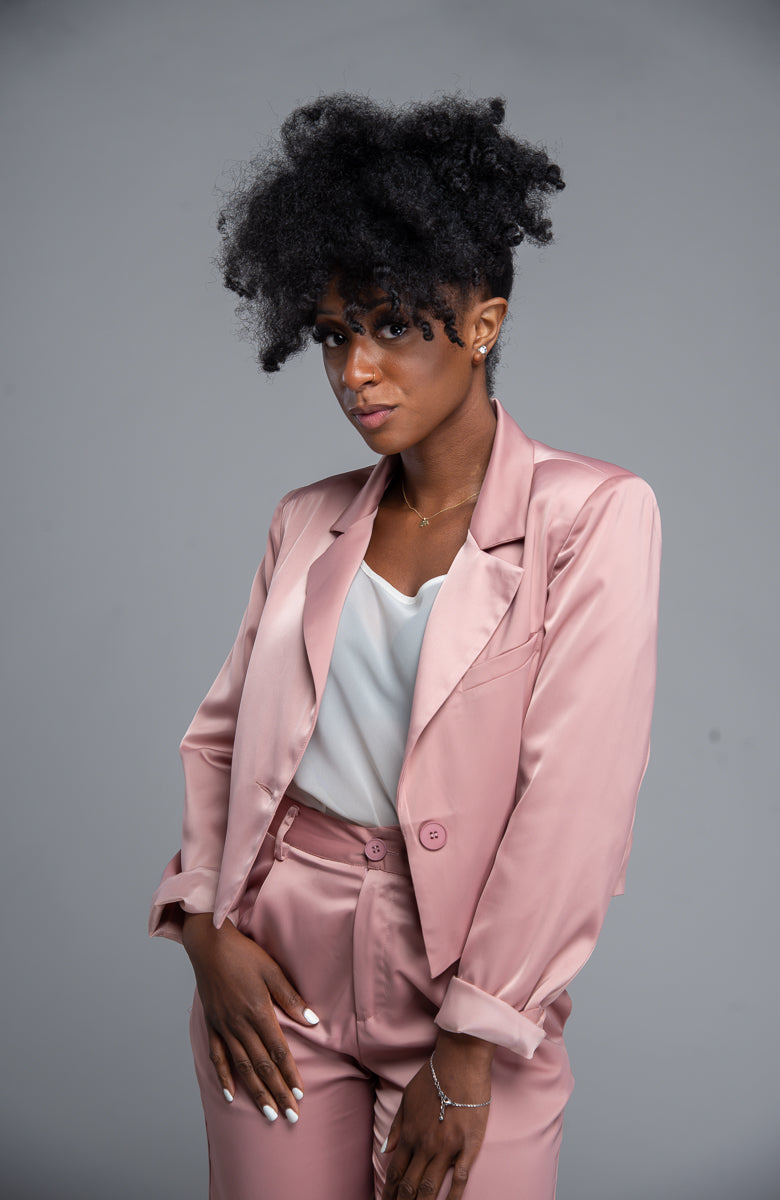 Satin Crop Blazer (Blush)