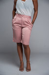 Satin Bermuda Shorts (Blush)