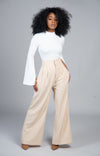 High Waist Wide Leg Pant (Tan)