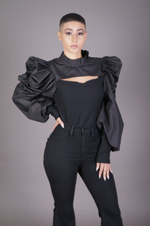 Cutout Front Puff Sleeve Blouse (Black)