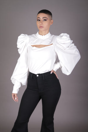 Cutout Front Puff Sleeve Blouse (White)