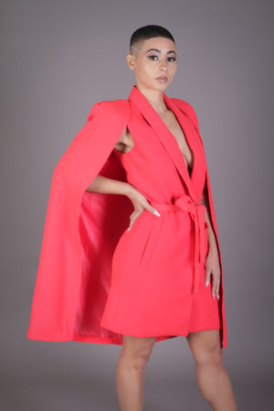 Belted Cape Blazer Dress (Red/Orange)