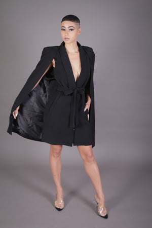 Belted Cape Blazer Dress (Black)