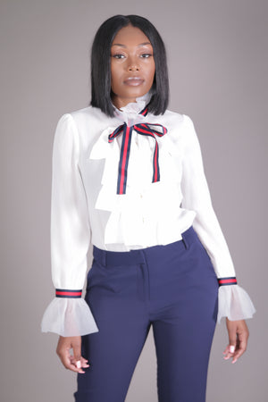 Gucci Inspired Ruffle Blouse (Ivory)