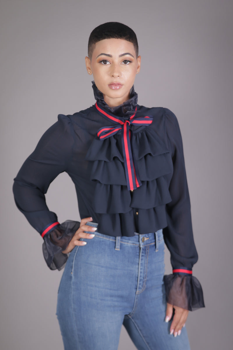 Gucci Inspired Ruffle Blouse (Navy)