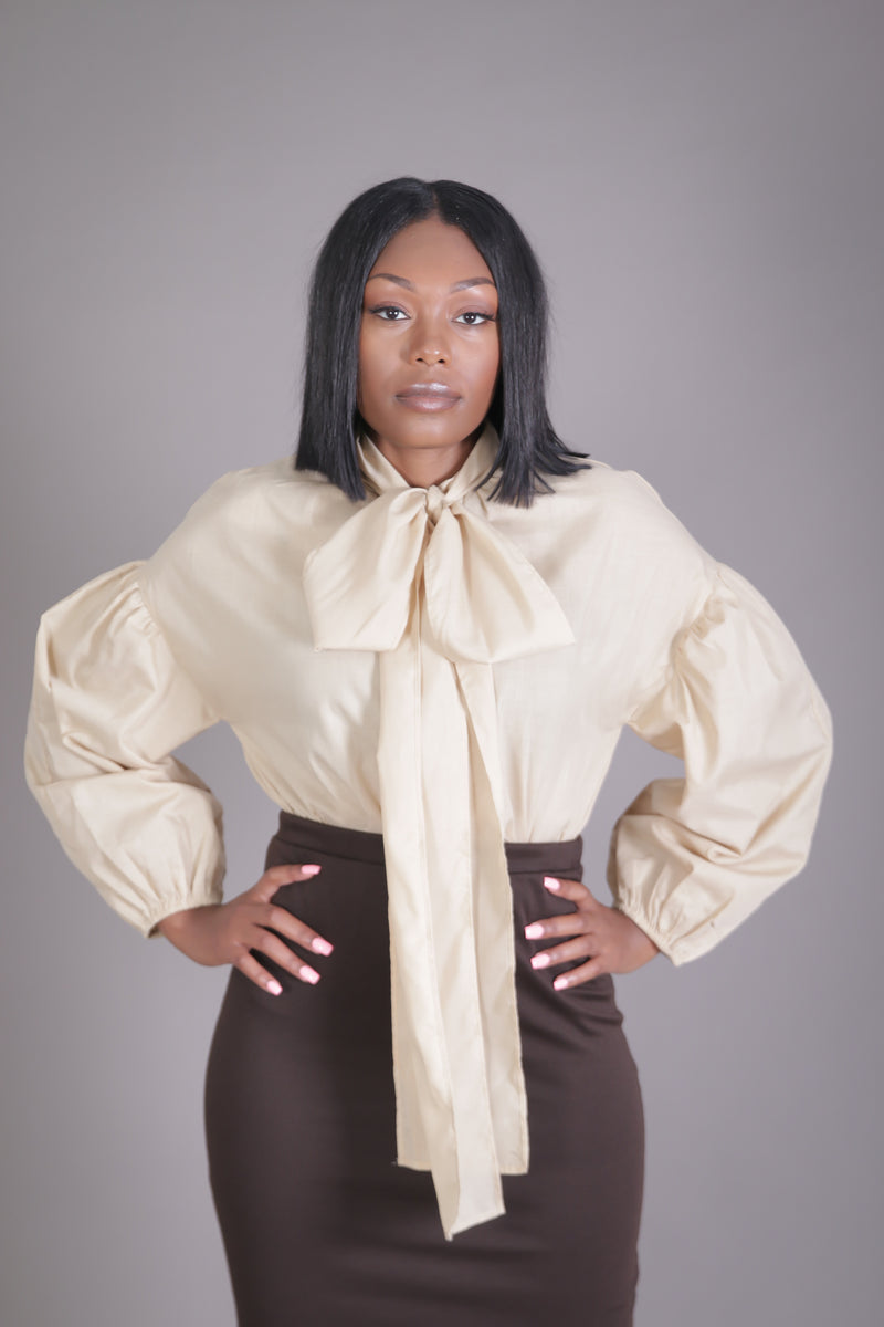 Drop Shoulder Balloon Sleeve Neck Tie Blouse (Taupe)