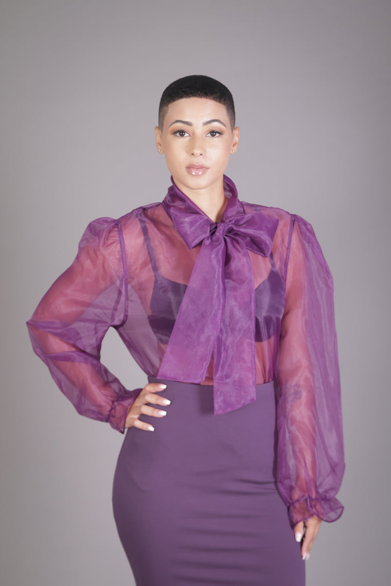 Organza Neck Tie Blouse (Purple)