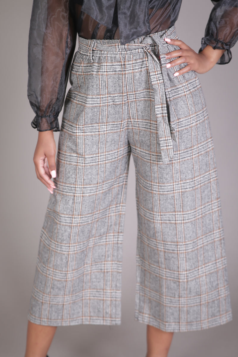 Wide Leg Plaid Culotte