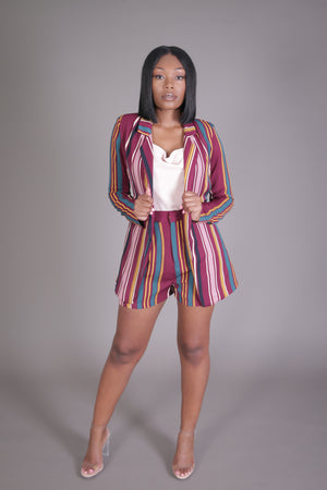 Multi Color Stripe Blazer