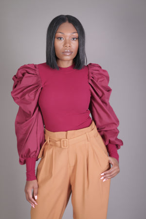 Puff Sleeve Knit Blouse (Burgundy)