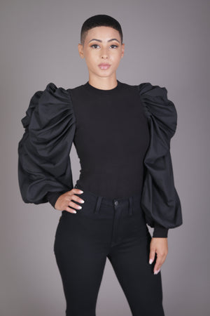 Puff Sleeve Knit Blouse (Black)