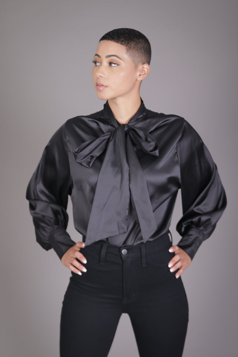 Neck Tie Blouse (Black)