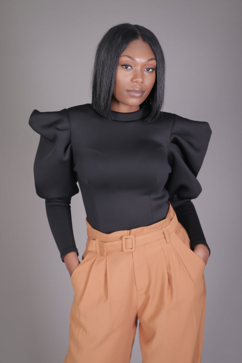 Scuba Puff Sleeve Blouse (Black)