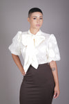 Sheer Puff Sleeve Neck Tie Blouse (Cream)