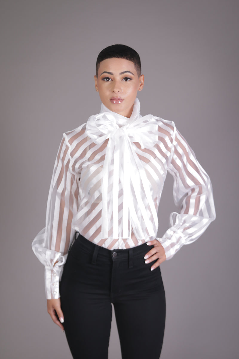 Sheer Shadow Neck Tie Blouse (White)