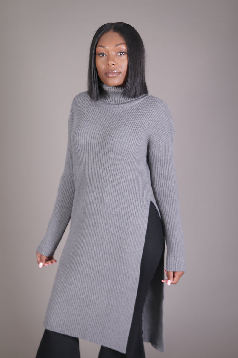 Knit Turtle Neck Midi Sweater w/ Split
