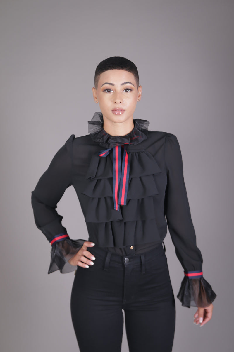 Gucci Inspired Ruffle Blouse (Black)