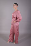 Satin Puff Sleeve Jumpsuit