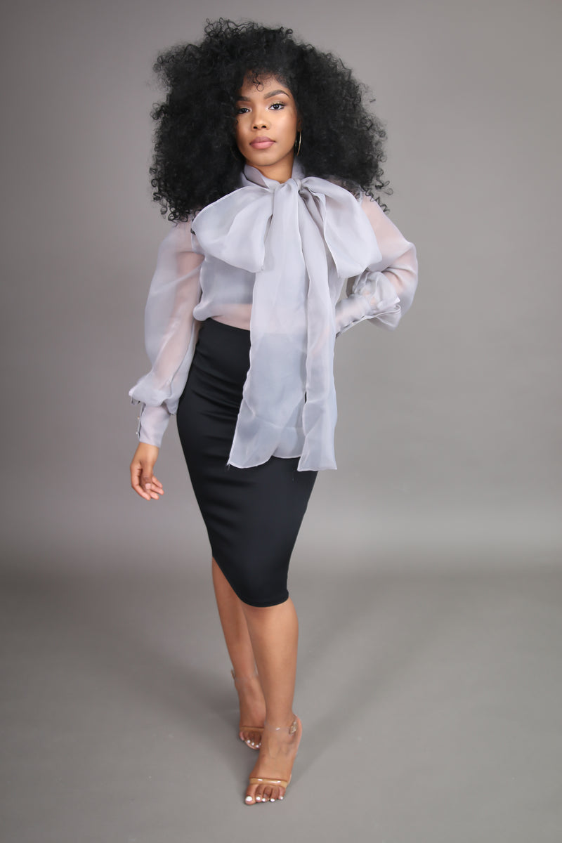Grey Organza Neck Tie Blouse