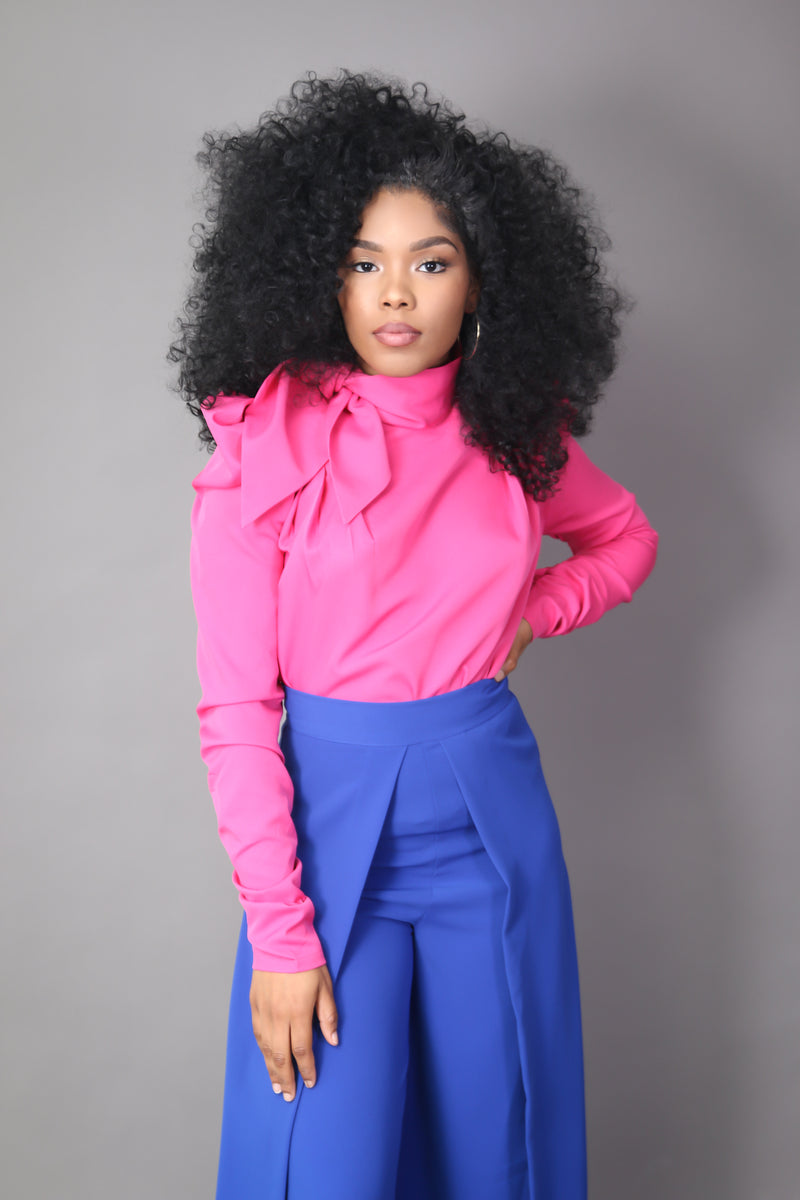 Fuchsia Statement Shoulder Blouse with Neck Tie