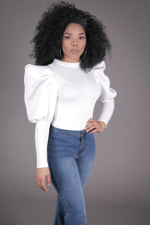 Scuba Puff Sleeve Blouse (Ivory)