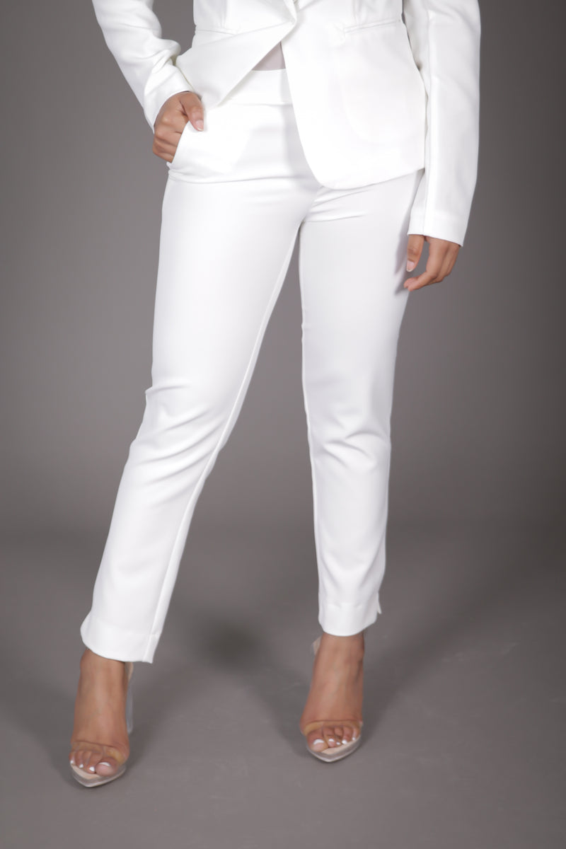 Off White Ankle Length Suit Pant