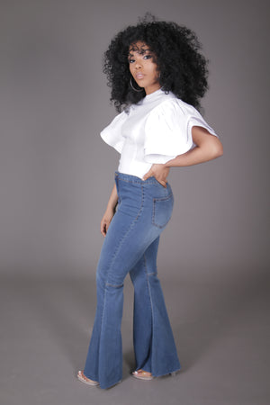 Ruffle Sleeve Top (White)