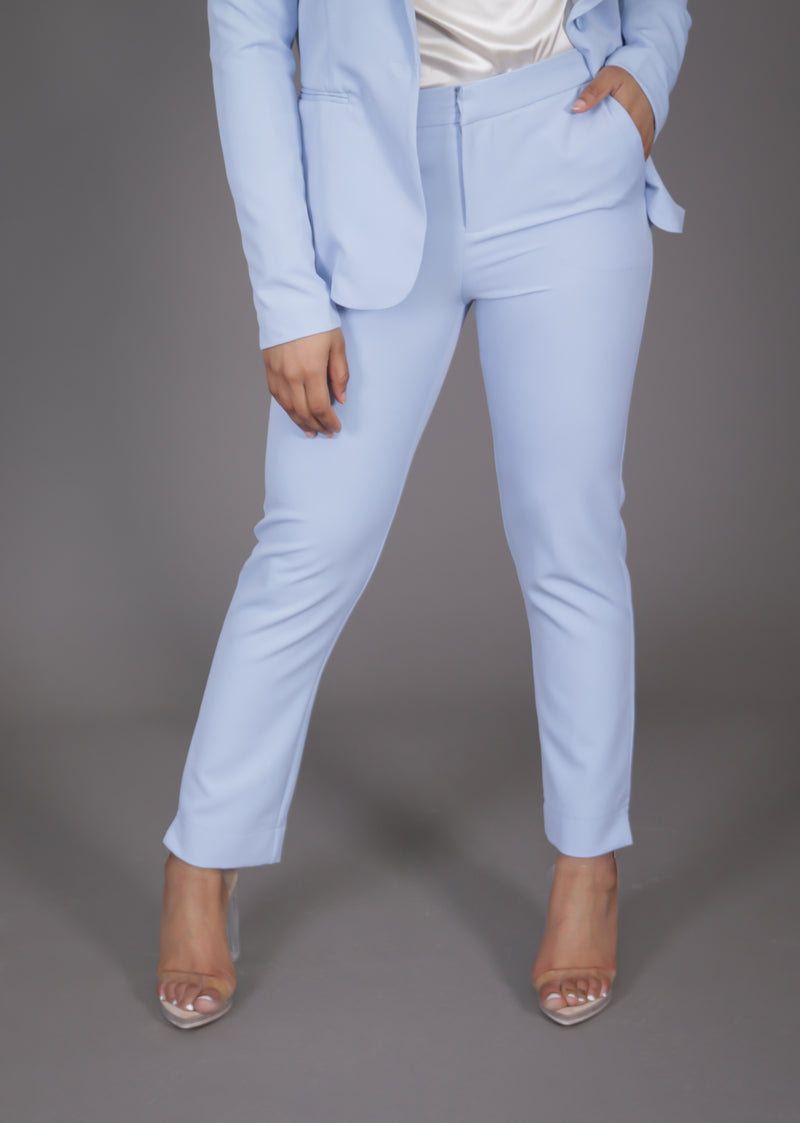Blue Ankle Length Suit Pant