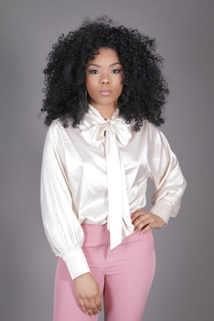 Champagne Neck Tie Blouse