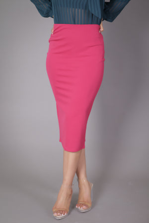 Midi Skirt with High Split (Berry Red)
