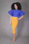 Ruffle Sleeve Top (Royal Blue)