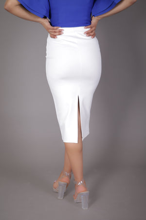 Midi Skirt with High Split (Ivory)