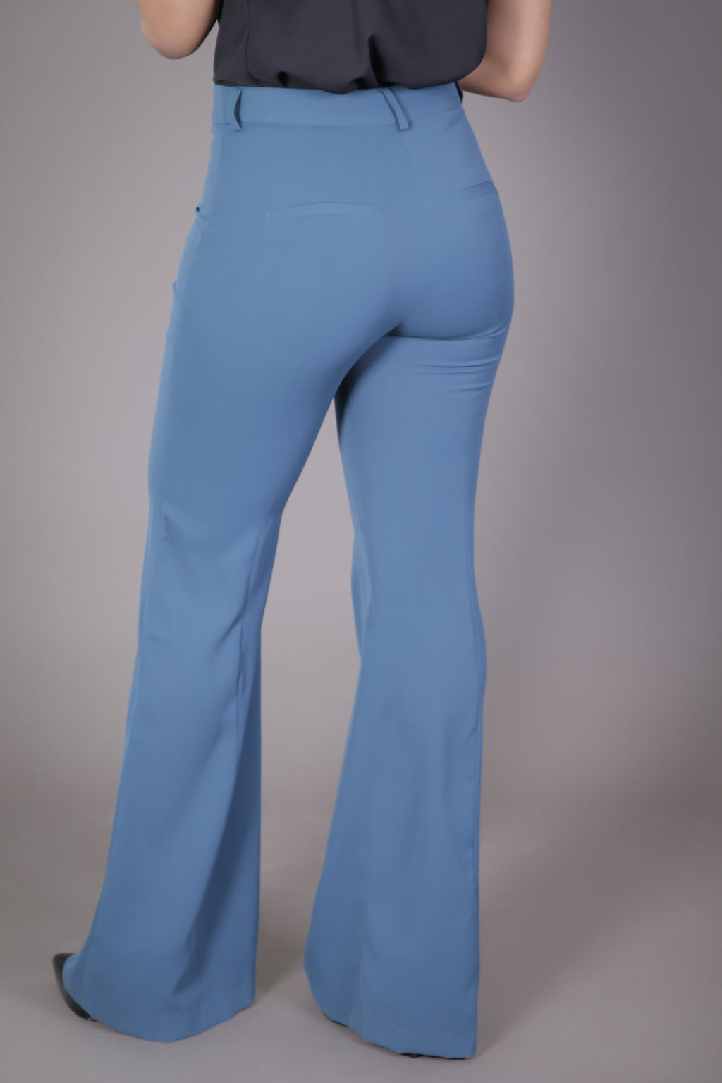 High Waist Wide Leg Suit Pant (Slate Blue)