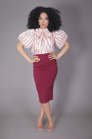 Midi Skirt with High Split (Burgundy)