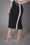Midi Skirt with Tan/White Stripe & Zippers