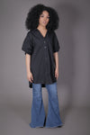 Oversized Puff Sleeve Button Up (Black)